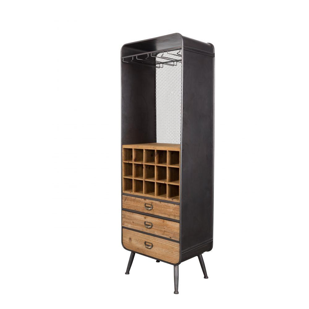 armoire bar vins m tal et bois vino dutchbone drawer. Black Bedroom Furniture Sets. Home Design Ideas
