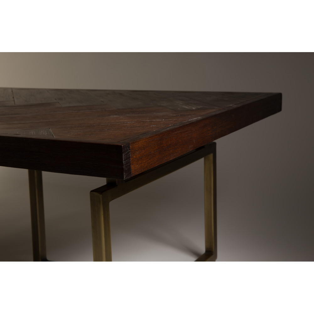 Table basse design bois d 39 acacia et laiton class for Table basse bois design