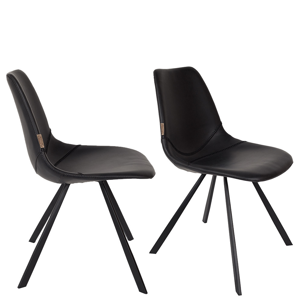 lot de 2 chaises vintage fa on cuir franky. Black Bedroom Furniture Sets. Home Design Ideas