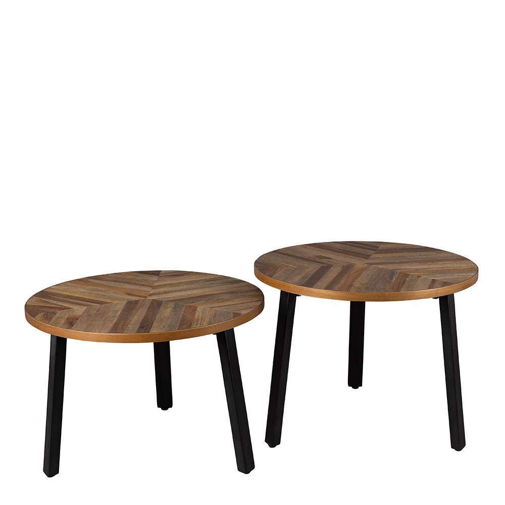 Lot de 2 tables basse bois recycl mundu for Table basse bois recycle