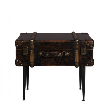 Table d'appoint vintage façon cuir Luggage