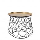 Table d'appoint métal finitions dorée Moulin