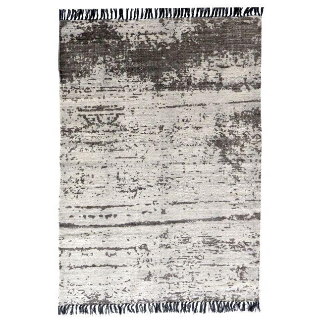 Tapis en coton gris & écru tissé main Gheer