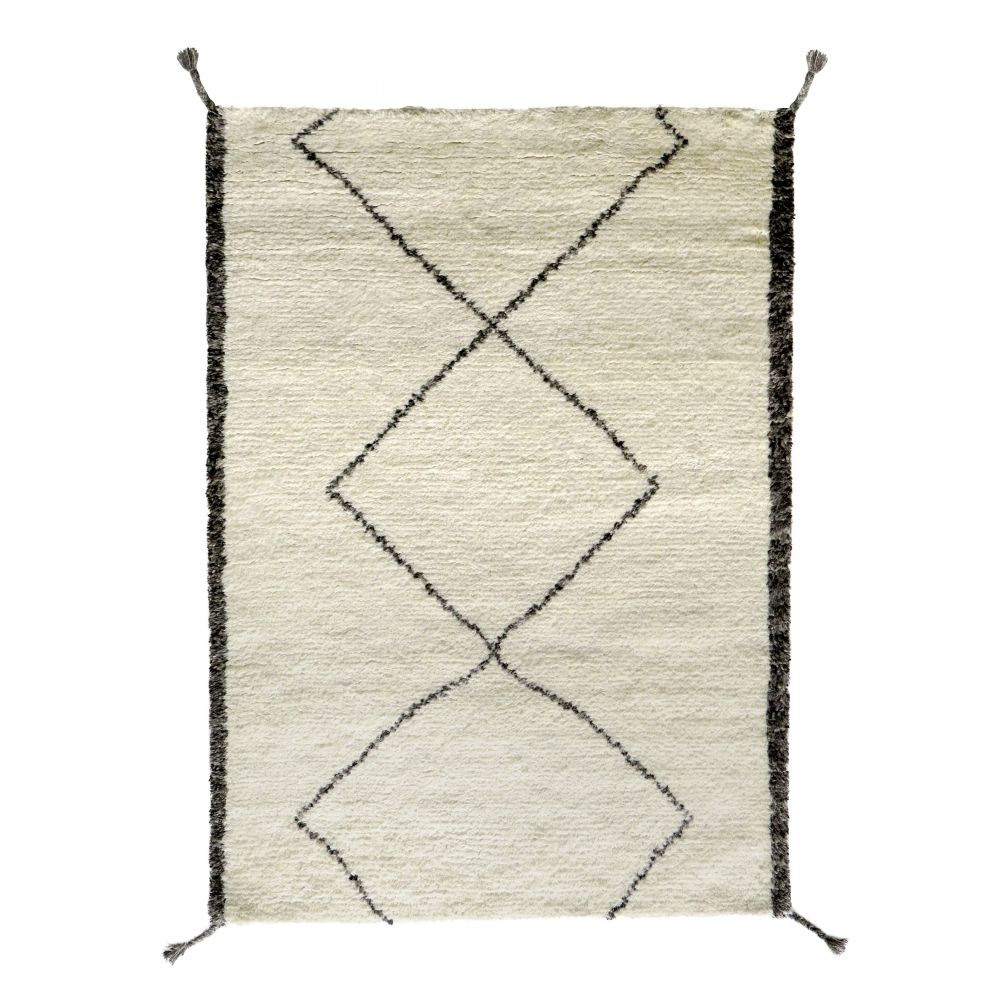 tapis type berb re tiss main en laine beige et gris pavot. Black Bedroom Furniture Sets. Home Design Ideas
