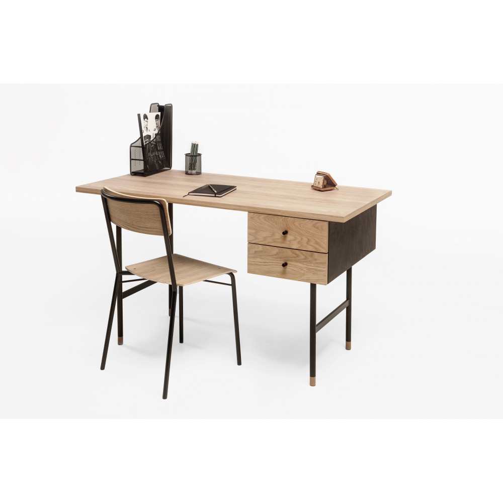 bureau design bois et m tal jugend by drawer. Black Bedroom Furniture Sets. Home Design Ideas