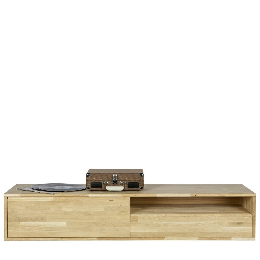 Meuble tv suspendu ch ne massif tygo by drawer - Meuble tv chene massif contemporain ...