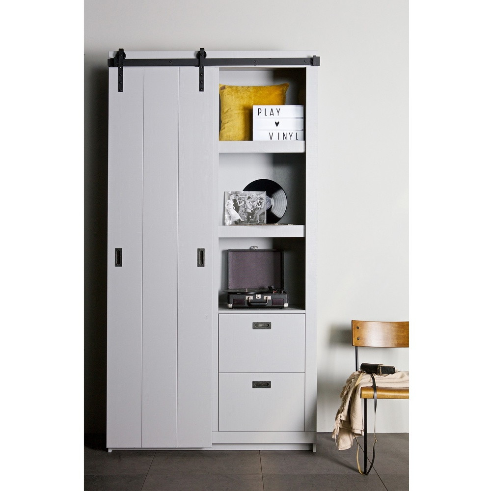 armoire design bois porte coulissante barn by drawer. Black Bedroom Furniture Sets. Home Design Ideas
