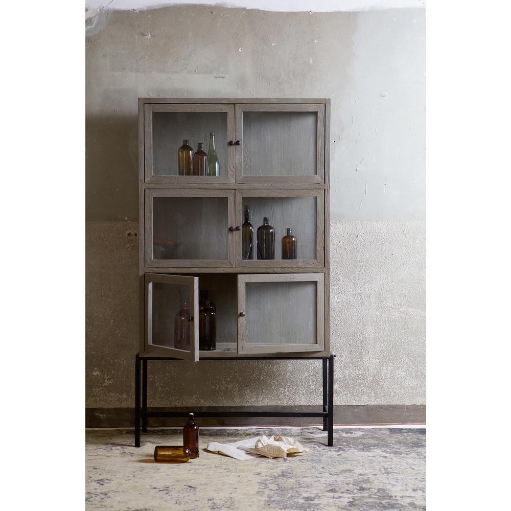 Armoire design industriel 6 portes verre et bois showcase by drawer - Meuble rangement verre ...