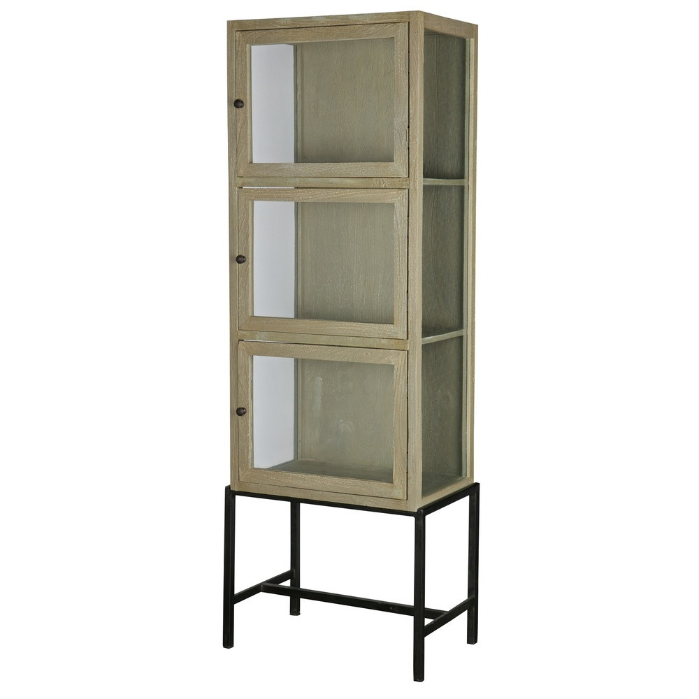 armoire design industriel 3 portes verre et bois showcase. Black Bedroom Furniture Sets. Home Design Ideas
