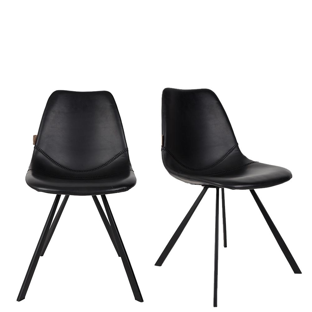 lot de 2 chaises vintage fa on cuir franky. Black Bedroom Furniture Sets. Home Design Ideas