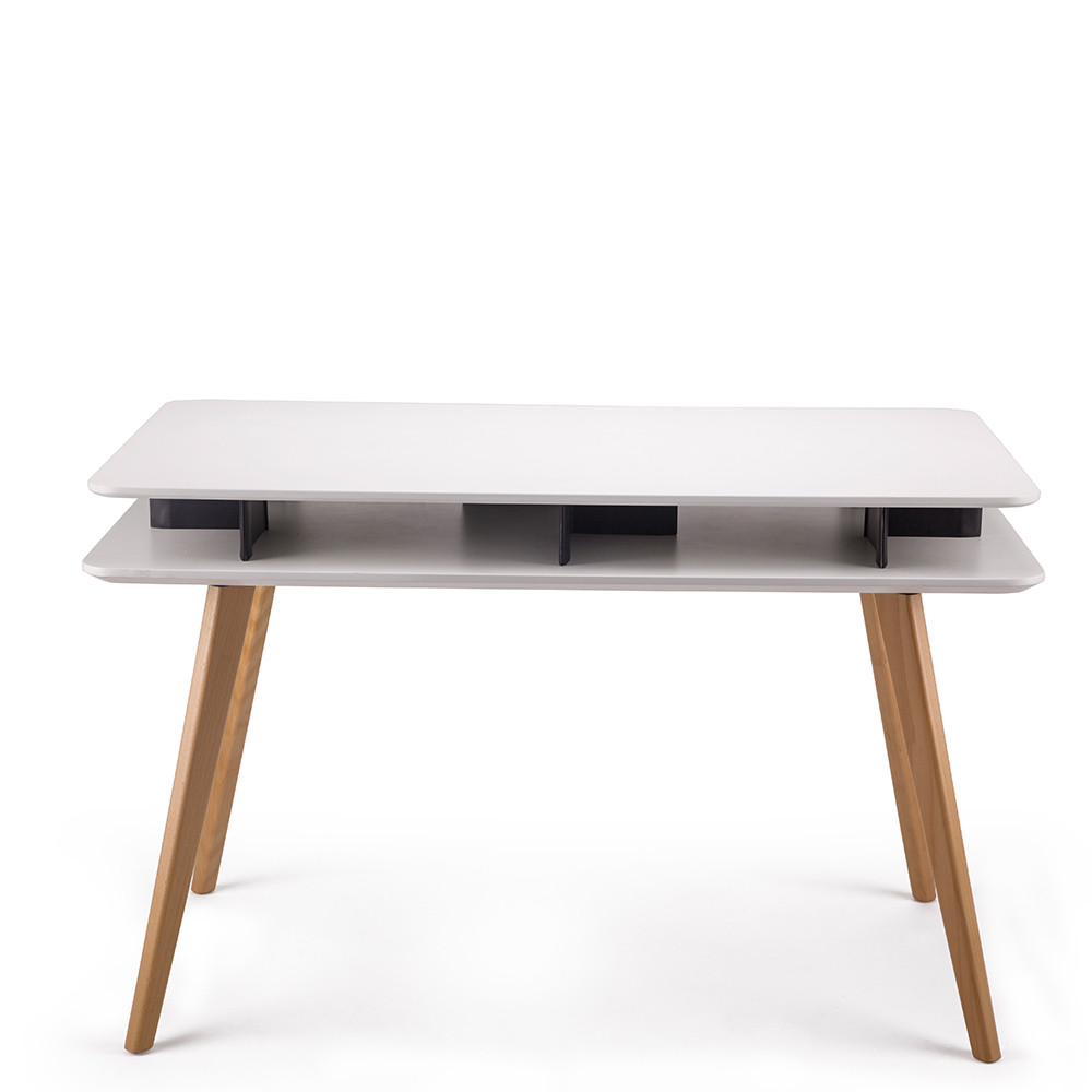 Bureau design bois geeko by drawer for Table bureau design