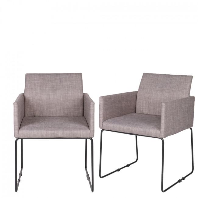 Lot de 2 chaises tissu et métal Jools