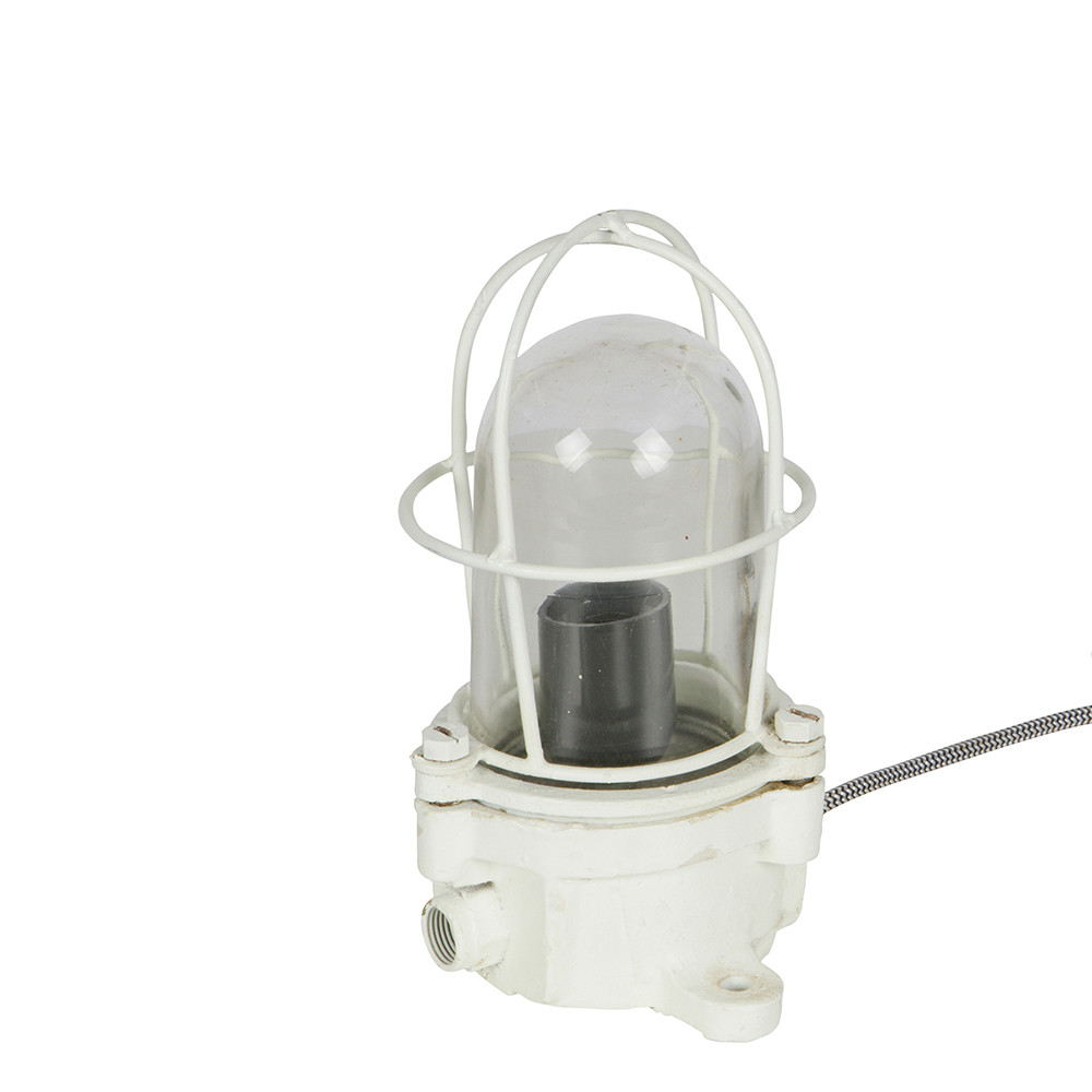 Lampe poser industrielle m tal blanc shiplight by drawer for Lampe a poser industrielle