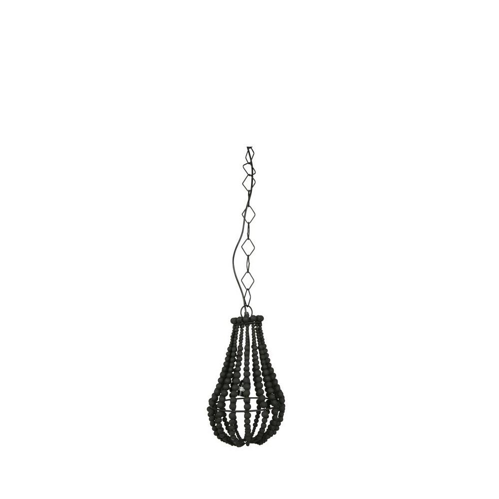 Suspension design perles de bois noir s funale by drawer for Suspension design bois