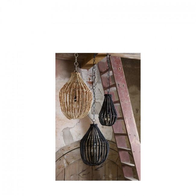Suspension design perles de boisn noir S Funale