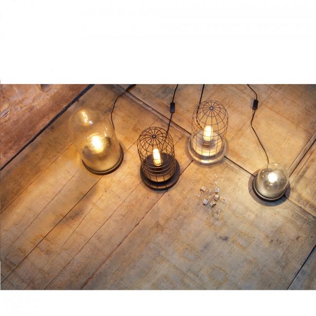 Lampe à poser industrielle verre et bois L Cover Up