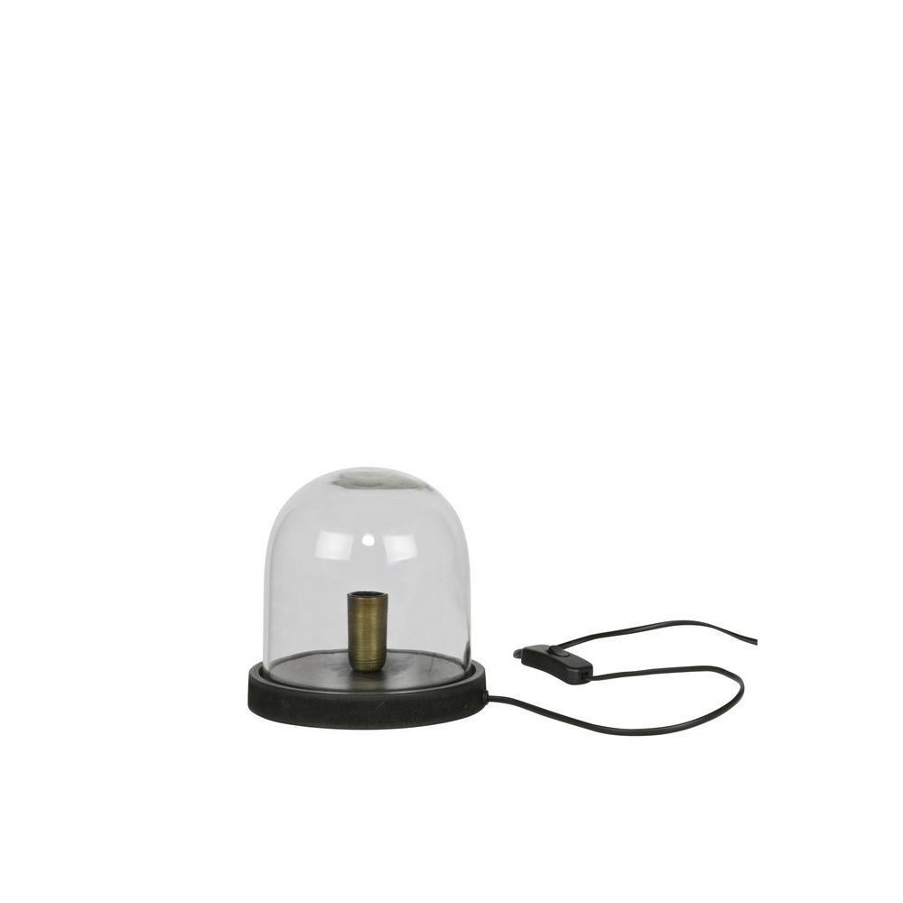 Lampe poser industrielle verre et bois s cover up by drawer - Lampe industrielle a poser ...