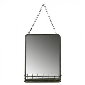 Miroir suspendu métal noir avec rangement Speak