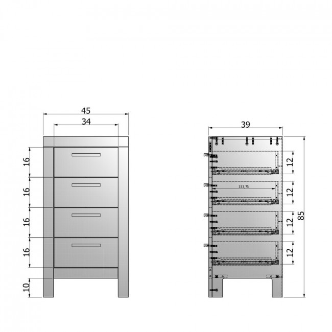 Commode 4 tiroirs pin massif Dennis