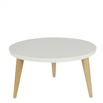 Table basse ronde rétro pin massif Ø60 Elin