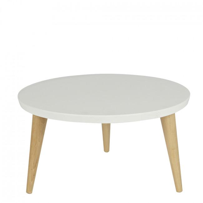 Table basse ronde rétro pin massif Ø60 Elin