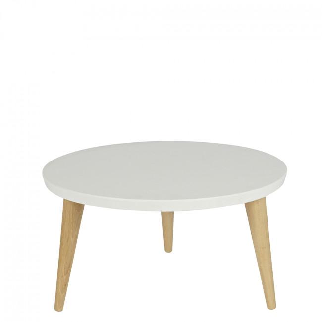 Table basse ronde rétro pin massif Ø50 Elin