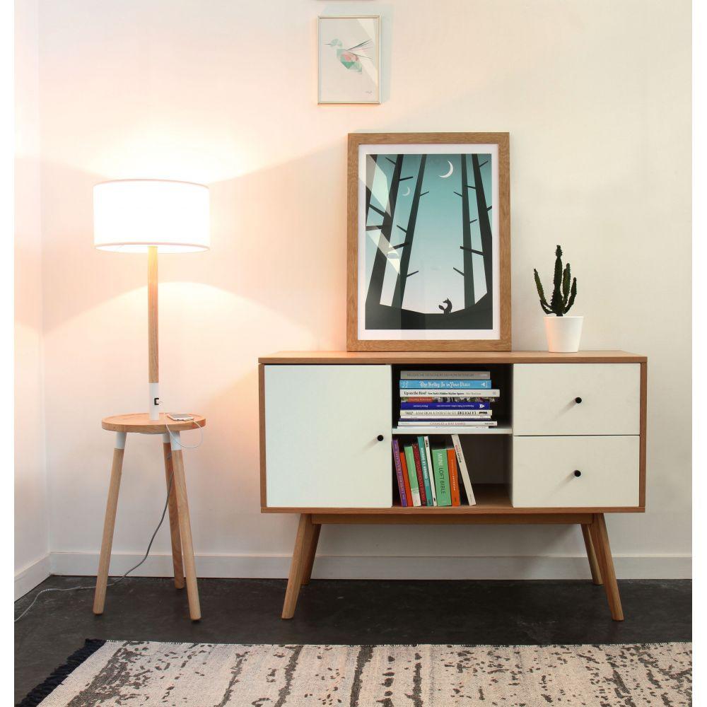 Buffet scandinave design laque mat et bois skoll by drawer for Architecture scandinave