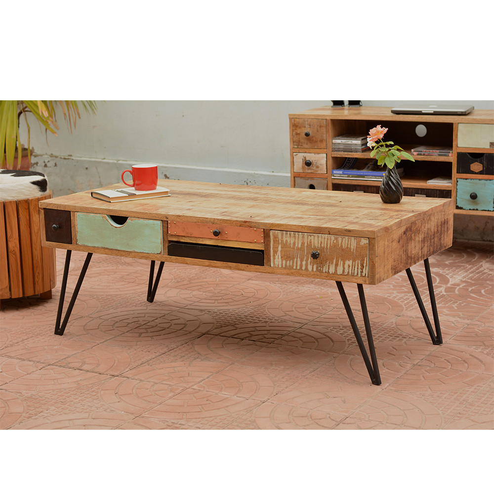 Table basse vintage en bois fusion by drawer for Table basse retro design