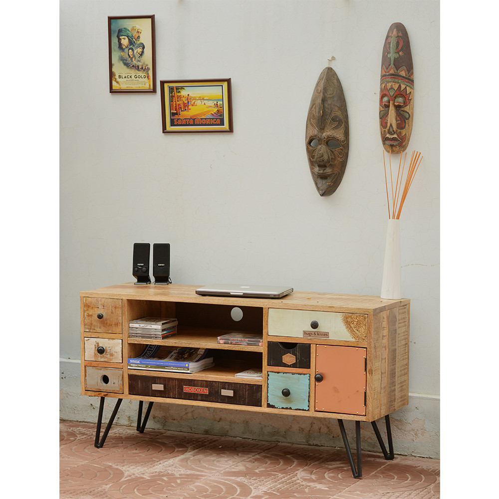 Meuble Tv Vintage En Bois Fusion By Drawer # Meuble Bois Colore