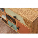 Meuble TV vintage en bois coloré 8 tiroirs Fusion