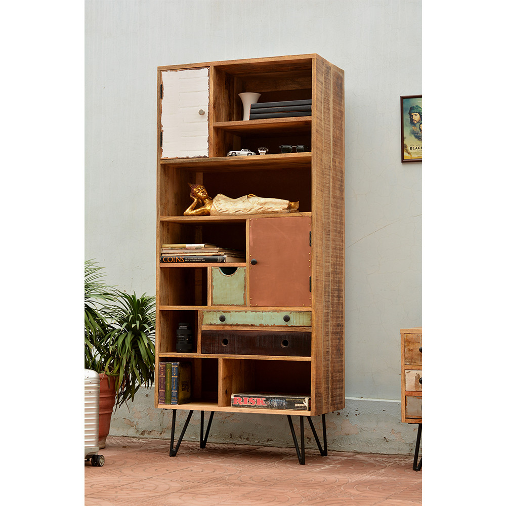 biblioth que vintage en bois multicolore fusion by drawer. Black Bedroom Furniture Sets. Home Design Ideas