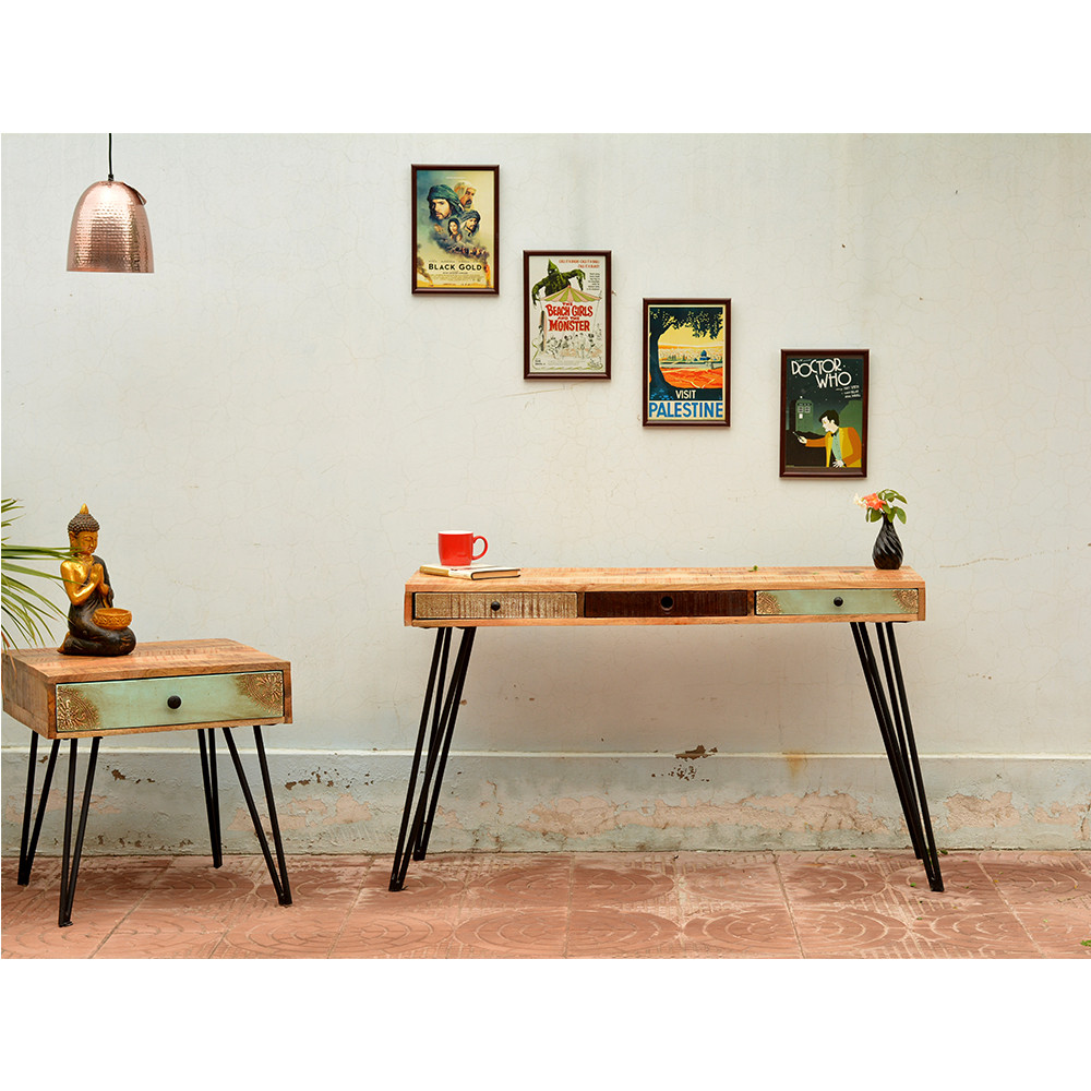table de chevet vintage en bois fusion by drawer. Black Bedroom Furniture Sets. Home Design Ideas
