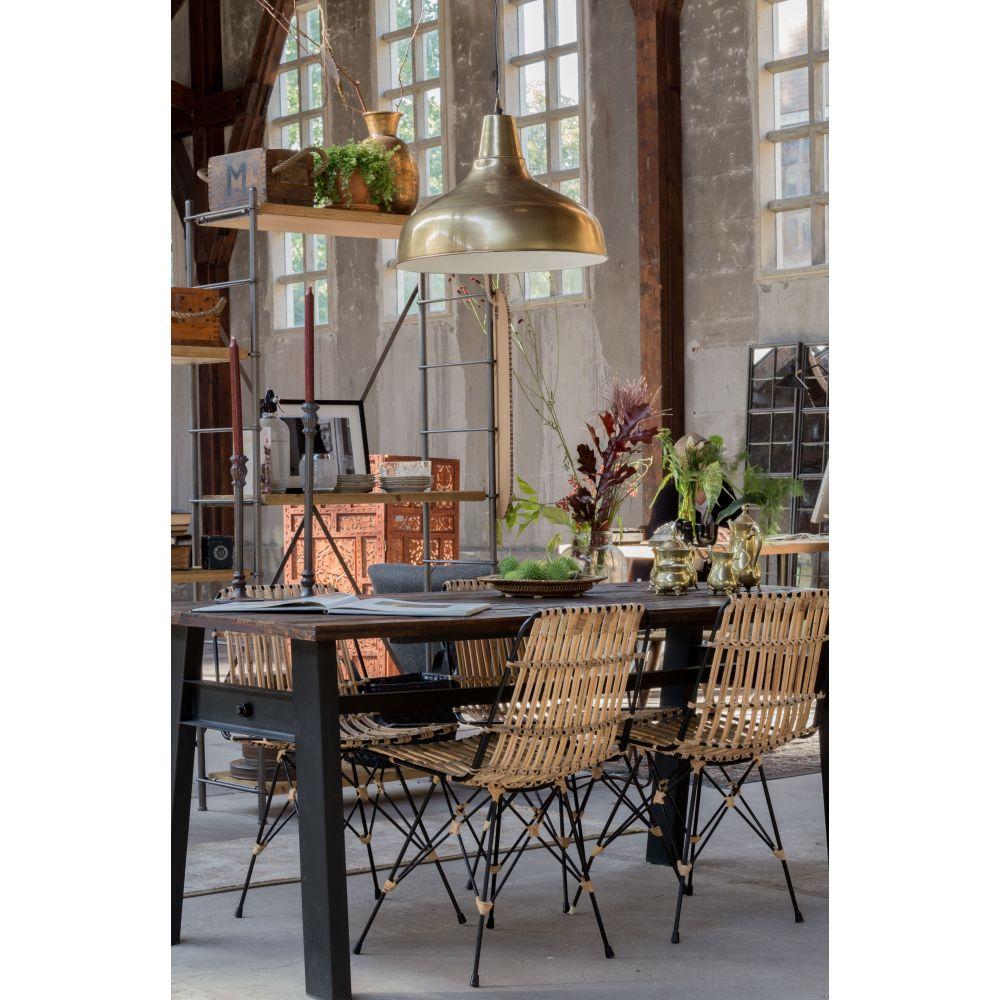 drawer table manger vintage en orme recycl et m tal. Black Bedroom Furniture Sets. Home Design Ideas