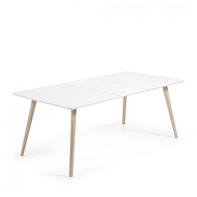 Table design scandinave extensible bois laqué blanc Joey