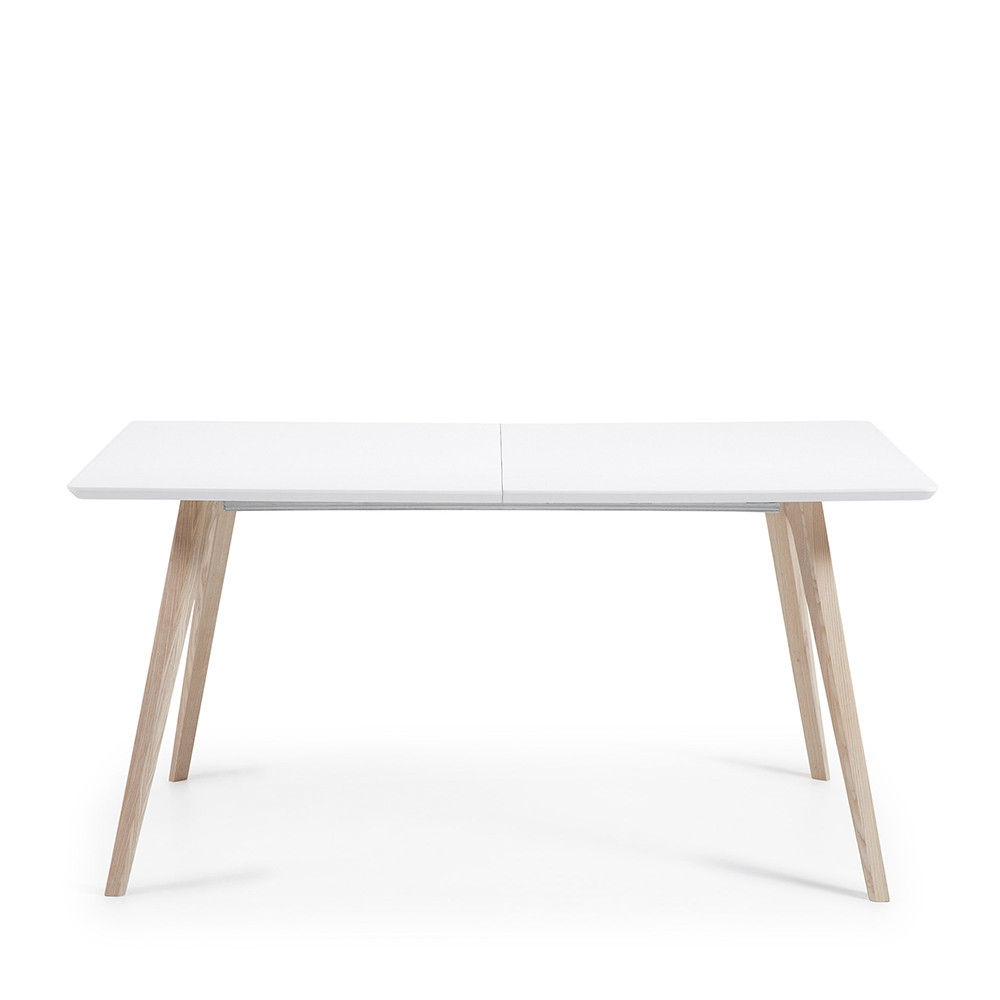 Table design scandinave extensible bois laqu blanc joshua for Table en bois et banc