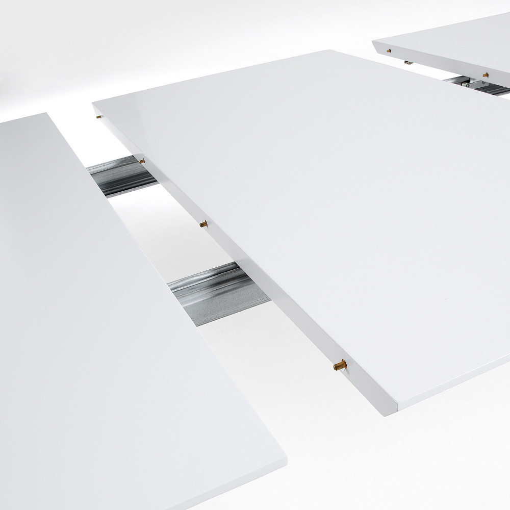Table design scandinave extensible bois laqu blanc joshua by drawer - Tafel bois blanc vieilli ...