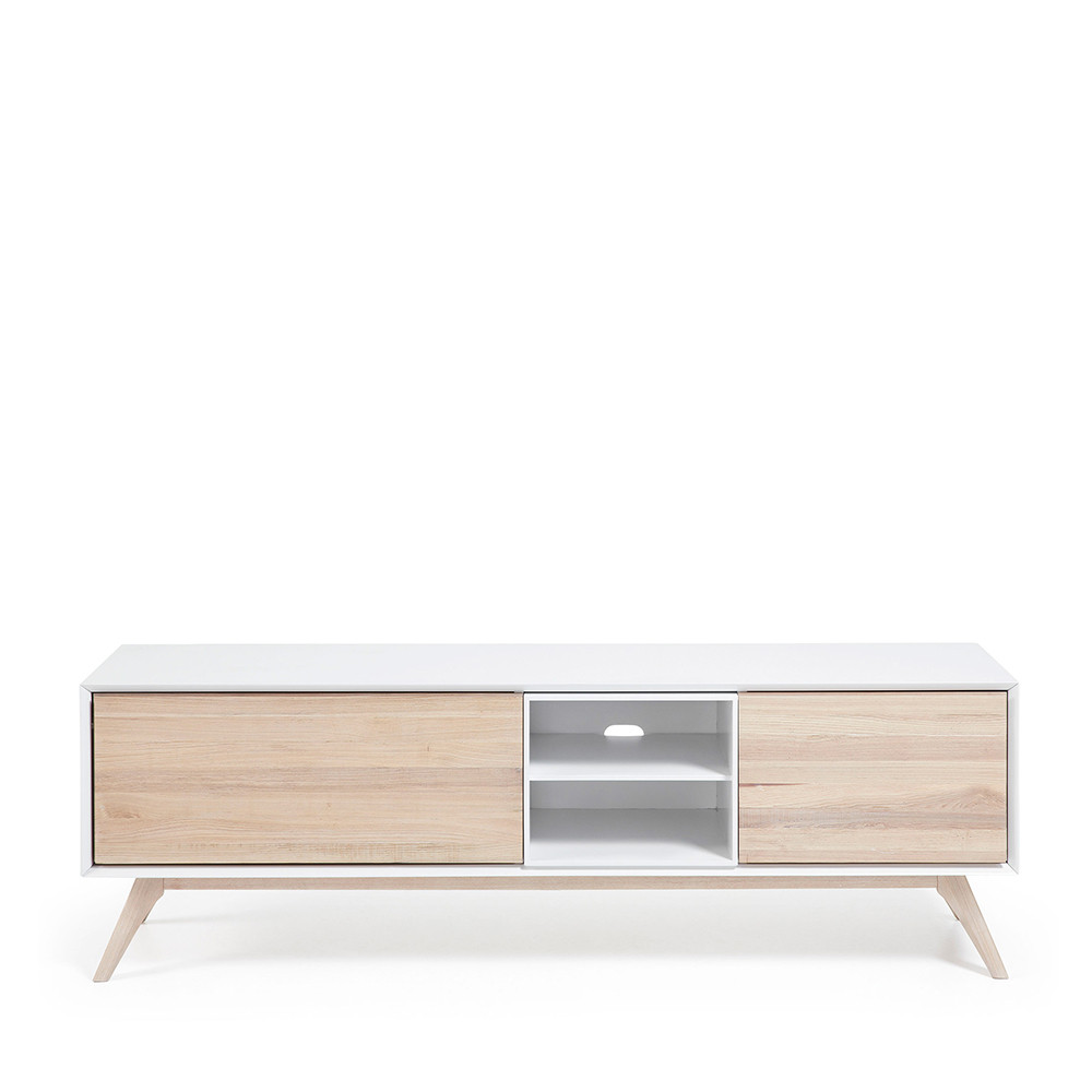 Meuble tv design bois de fr ne portes battantes josh by drawer for Meuble tv blanc en bois