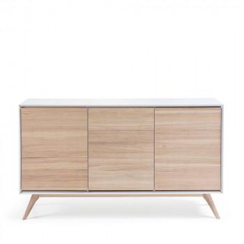 Buffet design blanc et bois de frêne Josh