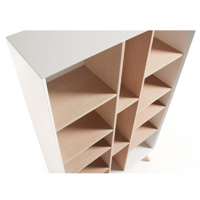 Bibliothèque design blanche et bois de frêne Josh