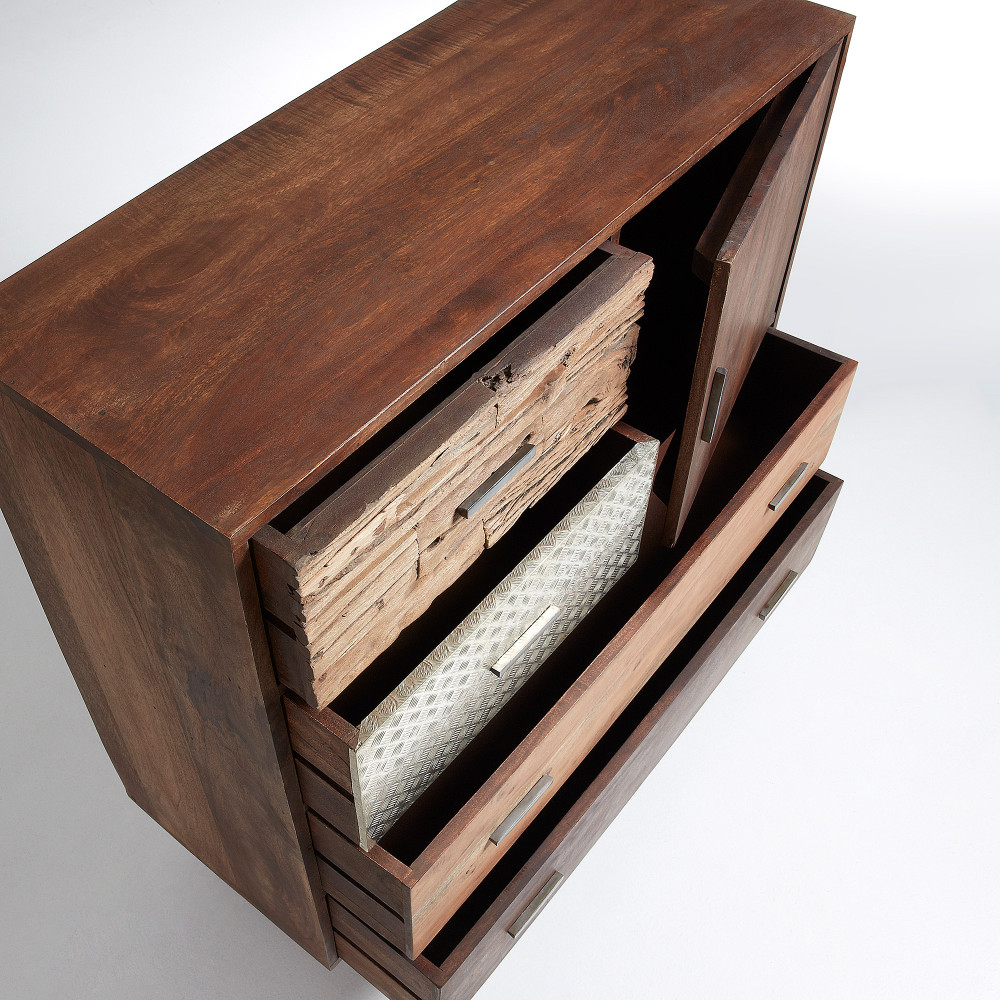 commode design en bois de manguier finitions m tal liam by. Black Bedroom Furniture Sets. Home Design Ideas
