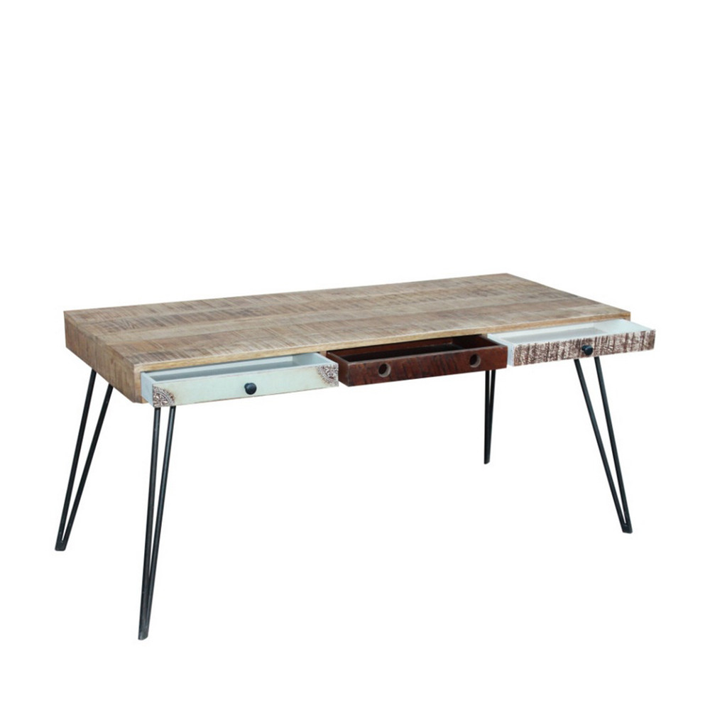 bureau design en bois jeux de couleurs et 3 tiroirs fusion by drawer. Black Bedroom Furniture Sets. Home Design Ideas