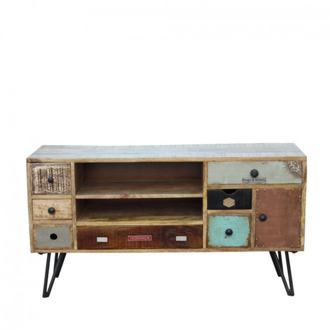 Meuble tv vintage en bois fusion by drawer for Meuble tv zuiver