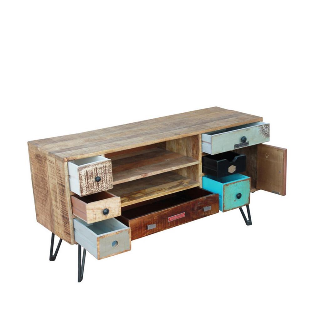 Meuble tv vintage en bois fusion by drawer for Meuble tiroir bois
