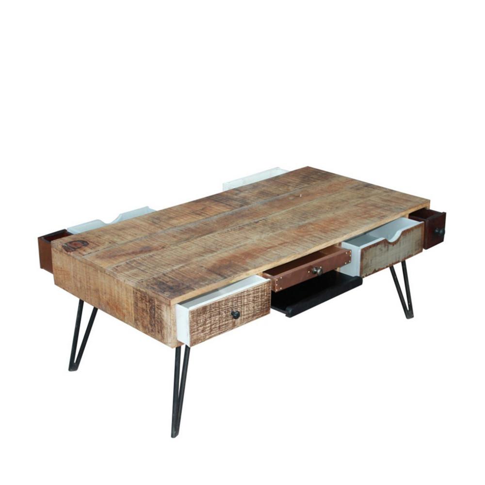 Table basse vintage en bois fusion by drawer - Table basse colore ...