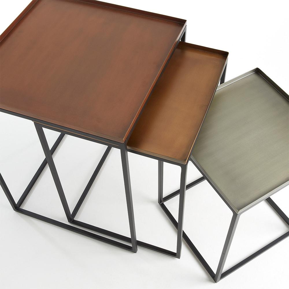 Lot de 3 tables gigognes cuivre zinc et laiton toby by drawer for Table cuivre
