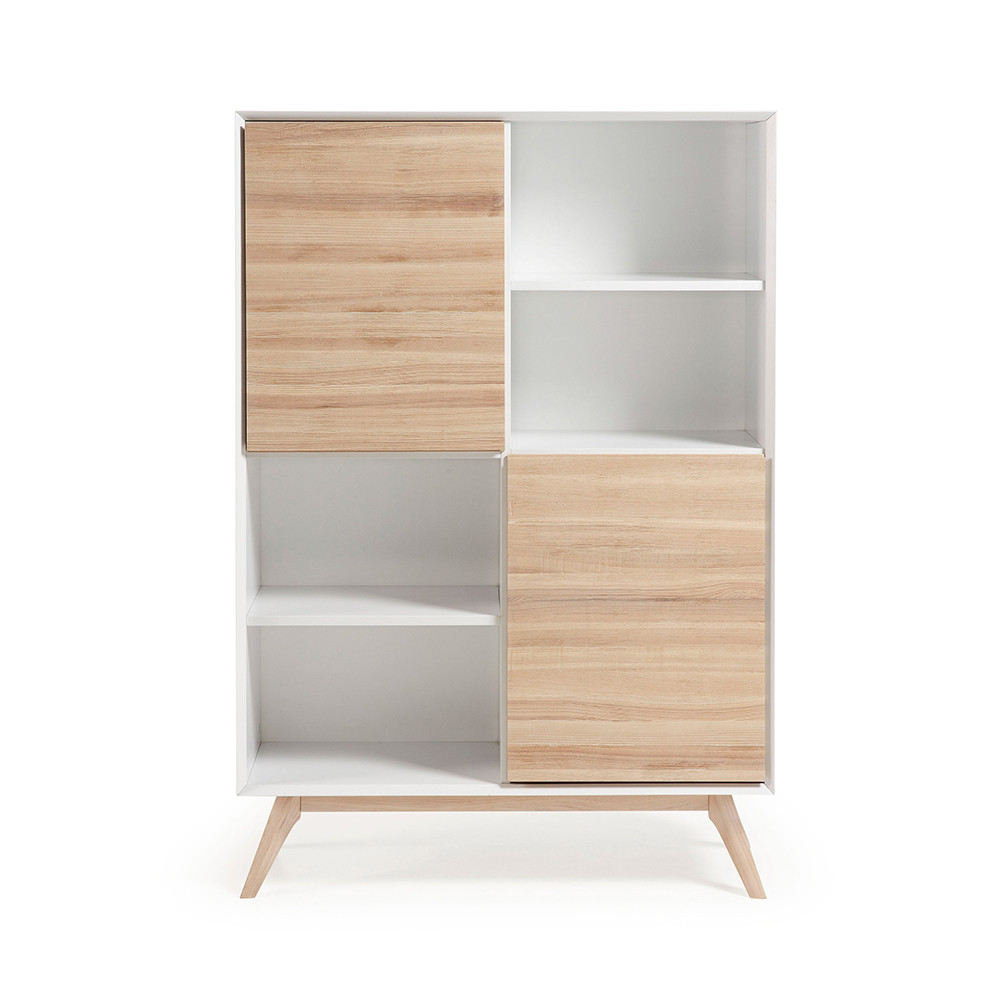 biblioth que design blanc et bois de fr ne avec portes. Black Bedroom Furniture Sets. Home Design Ideas