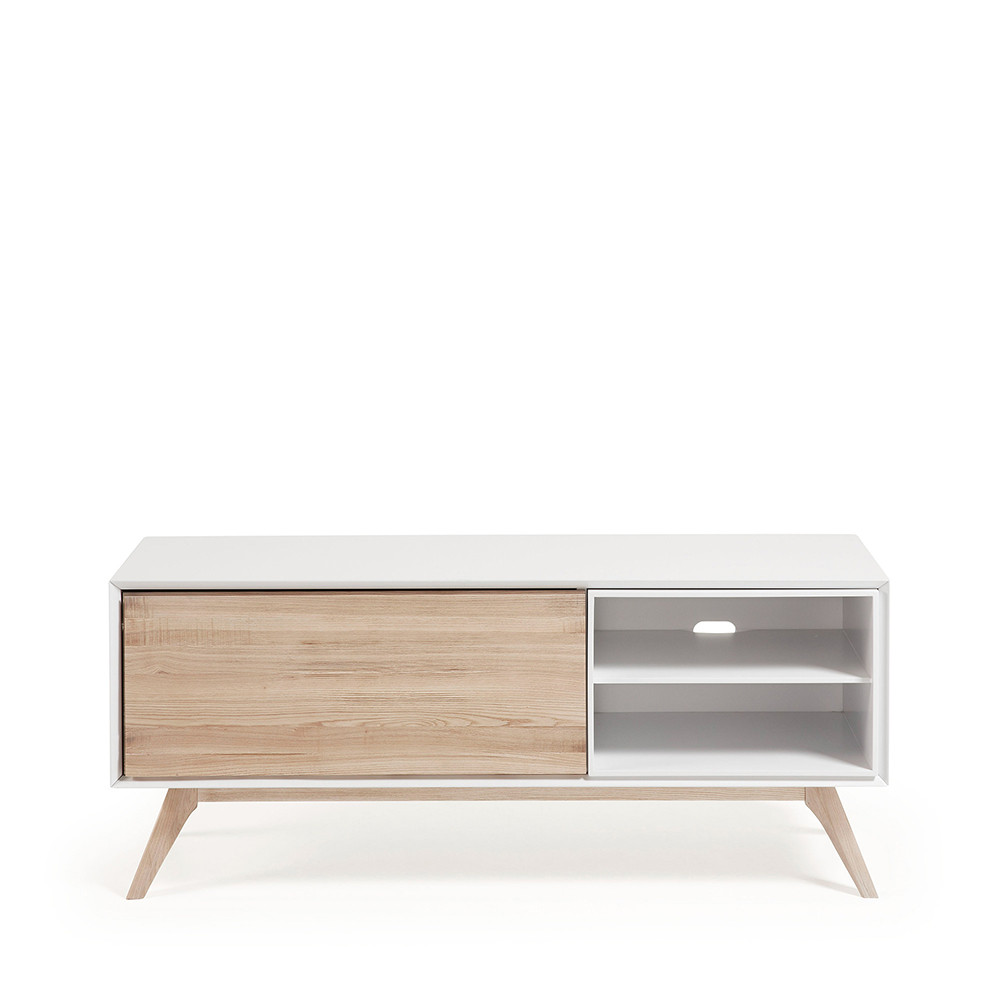 Meuble tv design blanc et bois de fr ne joshua by drawer for Meuble tv design bois