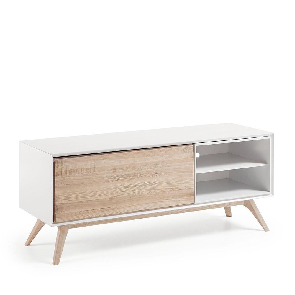 Meuble tv design blanc et bois de fr ne joshua by drawer - Meuble tv bois et blanc ...
