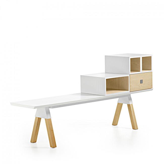 Banc design scandinave bois laqué blanc Joe