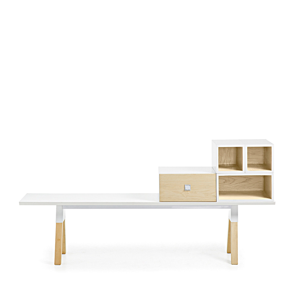 banc design scandinave bois laqu blanc joe by drawer. Black Bedroom Furniture Sets. Home Design Ideas